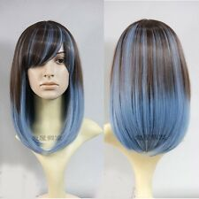 new fashion cosplay party full wigs brown+blue long straight hair lolita wig