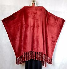 ~GROOVY GLAM Velvet Plush Fringed Poncho OS+ BURGUNDY RED   Valentine's Day Gift