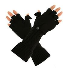 Ladies Winter Everyday Flip Fingerless Touch Screen Mitten Long Gloves Black