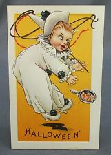Antique Halloween Postcard Clown White Costume Frightened Witch in Hand Mirror