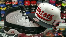 Matching Mitchell & Ness Trail Blazer Snapback Hat For Jordan 9 Space Jam White