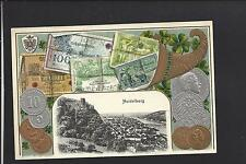 MINT POSTCARD, COINS, PAPER MONEY PICTURED, VF CARD.