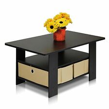 Furinno Coffee Table with Bin Drawer Espresso/Brown, 11158EX/BR New