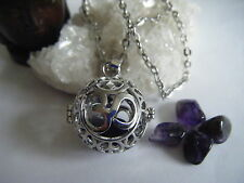Spiritual Healing Necklace Om Locket Amethyst Ajna 3rd Eye Chakra Sacred Cosmic