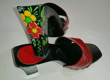 VIVIENNE TAM FOR CANDIES HEELS MULES WOMEN RED SHOES SIZE 8 1/2 Made In Italy
