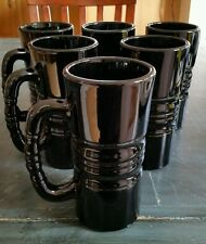 (6) Tall Heavy Black Kahlua Glass Mugs by Tiara Exclusives of Indiana 1970-1998