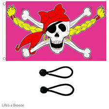 Pirate Girl Flag 5x3ft Great OnTelescopic Poles.Comes with Free Ball Ties