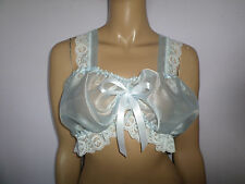 "BLUE ORGANZA WHITE LACE TRIM CAMISOLE BRA   TOP 35-55"" Bust  SATIN BOWS"