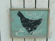 Primitive CHICKEN wooden FARM FRESH EGGS sign french country home/wall decor