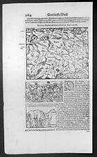 1628 Munster Antique Map of The Schwaben Region of Germany