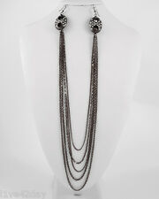 Black Metal Chain Strand Earlace Collar Sexy Earrings Lace Necklace Rhinestone