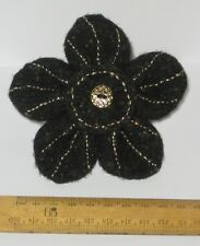 Unusual Handmade Black & Gold Felt Flower Brooch Present Hippy Boho Easter Gift
