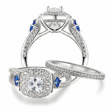 1.90 CT PRINCESS 925 STERLING SILVER BLUE SAPPHIRE ENGAGEMMENT RING SET SIZE 8