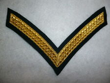 British Army - Lance Corporal's Stripes Rank Patch, Bullion, Dark Green Backing