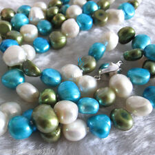 """50"""" 8-10mm White Blue Olive Baroque Freshwater Pearl Necklace B"""