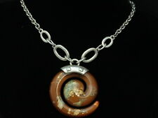 Quality retro brown spiral stone lucite pendant silver plated chain necklace M05