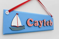 Children's / boy's wooden bedroom door sign / name plaque: nautical design