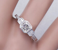 14K White Gold Asscher Forever One Moissanite and Diamond Engagement Ring 1.40ct
