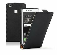 SLIM BLACK Leather Flip Case Cover Pouch For Mobile Phone Huawei P9 Lite
