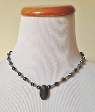 """NEIMAN MARCUS Silver Freshwater Pearl Beaded Necklace Gray Pendant 16"""" Long"""