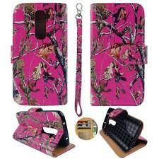 For LG G2 VS980 Verizon Am Wallet Camo Pink Pine Split Leather Case Cover