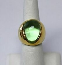 "Kenneth Jay Lane Peridot Green Cabochon Nugget Gold Adjustable Ring 5-9 ""As Is"""