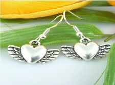 Wholesale 2 Pair/lot Charm Fashion Jewelry Silver Angel Wings Love Stud Earrings