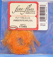 Fly Tails large Wapsi EE. UU. de silicona 10 piezas naranja/Pearl/Silver