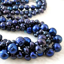 "20"" 3-9mm Navy 4Row Freshwater Pearl Necklace Strand Jewelry"