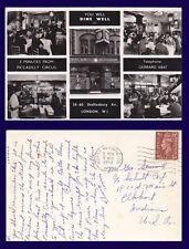 UK LONDON HONG KONG RESTAURANT REAL PHOTO 1952 TO GEORGE SEWARD, ELKHART INDIANA