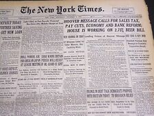 1932 DECEMBER 7 NEW YORK TIMES - HOOVER CALLS FOR SALES TAX & REFORM - NT 4816