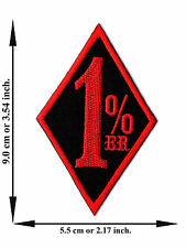 1% ER Black + Red Color One Percent Biker Outlaw -M Applique Iron on Patch Sew