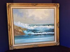 "KARL NEUMANN PAINTING Seascape Vintage 70's Large Framed @ 29"" X 25""  on Canvas"