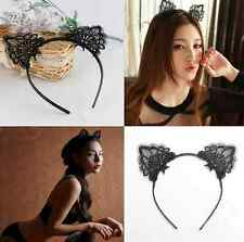 Cat Ears Headband Animal Party Costume Head hair band Black Lace Hair Accessory