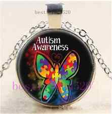 Autism Awareness Butterfly Cabochon Tibet Silver Chain Pendant Necklace