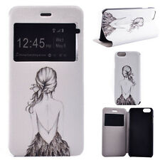 Flip PU Leather Cover Window View Stand Wallet Case for Apple iPhone 6S & Plus