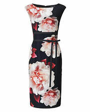 New PHASE EIGHT Alma Peony Print Black Red Crepe Pencil Dress Size 18 BNWT £120