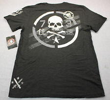 AFFLICTION Mens Black Born Free Die Free Standard Dry Goods Henley Shirt NWT 2XL