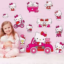 Pink HELLO KITTY Art Deco Mural Wall Paper Sticker