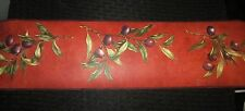 Olive Branches Wallpaper Wall Border brick red kitchen dining Italian Greek