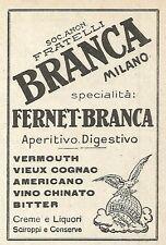 Y2584 Digestivo FERNET BRANCA - Pubblicità del 1922 - Old advertising