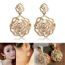 Women Real Gold Plated Hollow Rose Crystal Dangle Ear Studs Charms Earrings