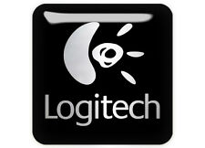 "Logitech Black 1""x1"" Chrome Domed Case Badge / Sticker Logo"
