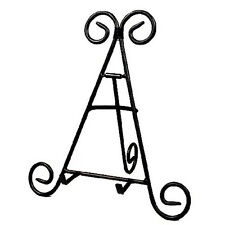 """12"""" Tall Black Iron Display Stand Holds Cook Books, Plates, Pictures"""