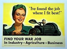 Authentic 1943 WWII Poster Woman Working Machine Find Your War Job Nice!