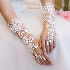 Wedding Party Bridal Bridesmaid Long Gloves White Lace Elbow Fingerless Gloves #