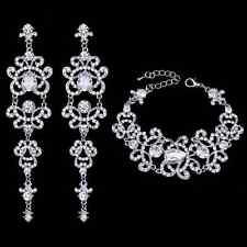 Schmuckset Armband Ohrringe Silber Strass Braut Hochzeit Wasserfall Schmuck NEU