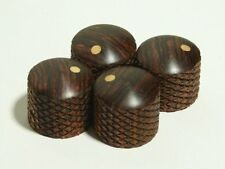 Set of 4 Knurled Cocobolo Guitar Knobs with Ash Dot Indicators (3/4dia x 11/16h)