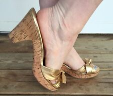 Coach Karen Gold Sandals Mules Cork Heel Women's Shoes 8B Slip On Summer Knotted