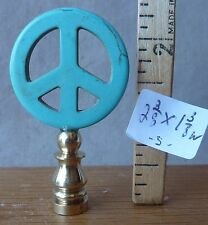 Lamp Finial PEACE Deco Turquoise Cast Stone brass base (priced per each)